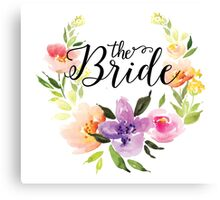 The Bride-Modern text in Black Colorful Watercolors Floral Wreath Canvas Print