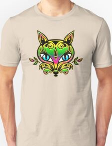 Rainbow fox with blue eyes and ornaments Unisex T-Shirt