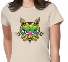 Rainbow fox with blue eyes and ornaments Womens Fitted T-Shirt