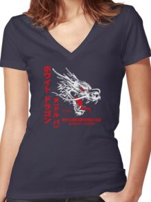White Dragon Noodle Bar (aged look) Women's Fitted V-Neck T-Shirt