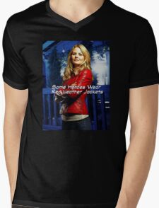 """""""Some Heroes Wear Red Leather Jackets"""" Mens V-Neck T-Shirt"""