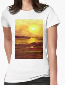 Yellow and Orange Sea Art Womens Fitted T-Shirt