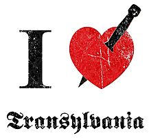 I love Transylvania (black eroded font) Photographic Print