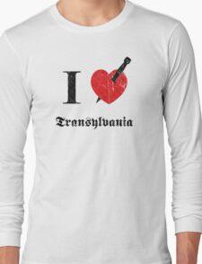 I love Transylvania (black eroded font) Long Sleeve T-Shirt