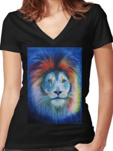 Bowie Lion big cat Women's Fitted V-Neck T-Shirt