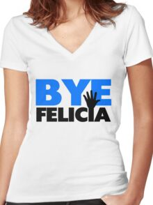 Bye Felicia Hand Wave Bold Blue Women's Fitted V-Neck T-Shirt