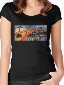 Japanese Print:  Warriors on a Bridge Women's Fitted Scoop T-Shirt