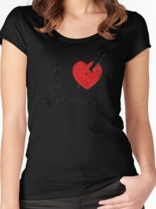 I love (to kill) Vampires (black eroded font) Women's Fitted Scoop T-Shirt