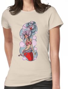 Pretty Silver Haired Mermaid Womens Fitted T-Shirt