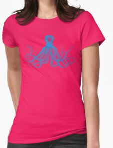 Octopus | Turquoise Blue & White Womens Fitted T-Shirt