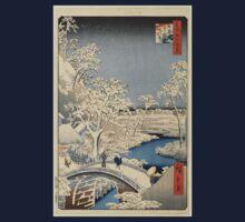 Japanese Print: Snow on Bridge One Piece - Long Sleeve