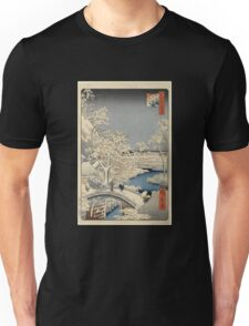 Japanese Print: Snow on Bridge Unisex T-Shirt