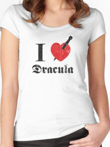 I love (to kill) Dracula (black font eroded) Women's Fitted Scoop T-Shirt
