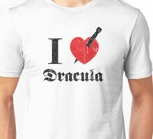 I love (to kill) Dracula (black font eroded) Unisex T-Shirt