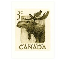 Canada postage stamp, 1953, moose Art Print