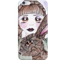 A girl and hare iPhone Case/Skin