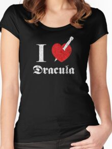 I love (to kill) Dracula (white font eroded) Women's Fitted Scoop T-Shirt
