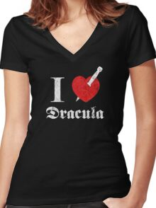 I love (to kill) Dracula (white font eroded) Women's Fitted V-Neck T-Shirt