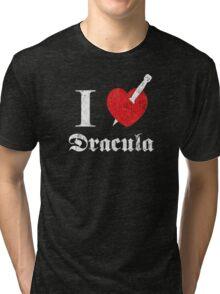 I love (to kill) Dracula (white font eroded) Tri-blend T-Shirt