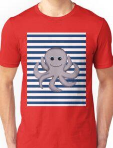 Octopus on Blue & White Stripes Unisex T-Shirt