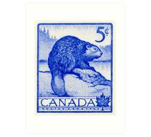 Canada postage stamp, 1954, beaver Art Print