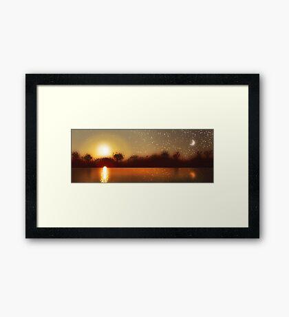 Moon Golden Sunset Water Framed Print