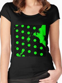 abstract polka dots green Women's Fitted Scoop T-Shirt