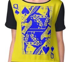 QUEEN OF SPADES-BLUE Chiffon Top