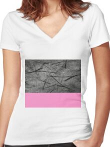 Enter Pink - Black And White Abstract Mixed Media + Block Pink Women's Fitted V-Neck T-Shirt
