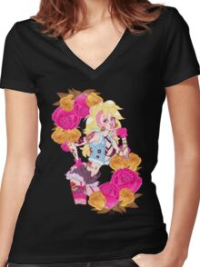 Peachy Punk Women's Fitted V-Neck T-Shirt