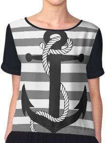 Ahoy! (greyscale) Chiffon Top