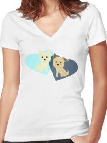 Two Terriers Women's Fitted V-Neck T-Shirt