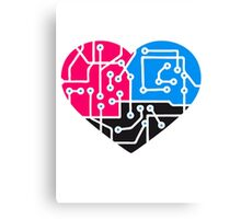 heart, love, colorful circuitry electrically disk microchip symbol I love technology Canvas Print