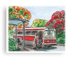 Red Bus Illustration Canvas Print