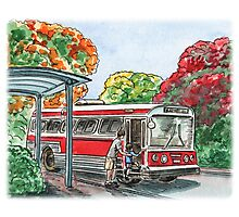 Red Bus Illustration Photographic Print