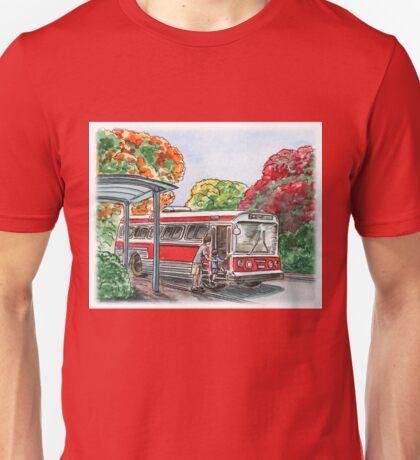 Red Bus Illustration Unisex T-Shirt