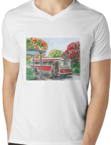 Red Bus Illustration Mens V-Neck T-Shirt