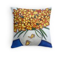 """Mazzo di Narccisi"" Bouquet Of Daffodils Throw Pillow"