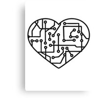 heart, love circuitry electrically disk microchip symbol I love technology Canvas Print