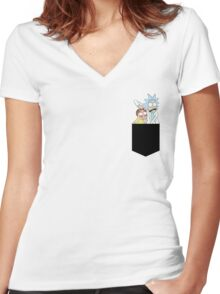 Rick and Morty Pocket Tees Women's Fitted V-Neck T-Shirt