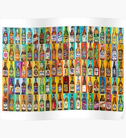 100 Bottles of Beer Poster - Perfert for College Dorms, Bar Decor, Man Cave Poster