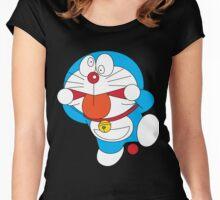 Doraemon Crazy Face Women's Fitted Scoop T-Shirt