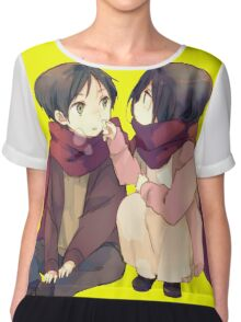 attack on titan misaka and eren cute together Chiffon Top