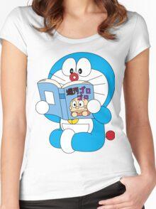 Doraemon Read Comic Book Women's Fitted Scoop T-Shirt