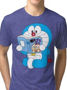 Doraemon Read Comic Book Tri-blend T-Shirt