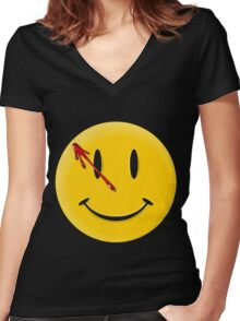Watchmen Smiley Women's Fitted V-Neck T-Shirt