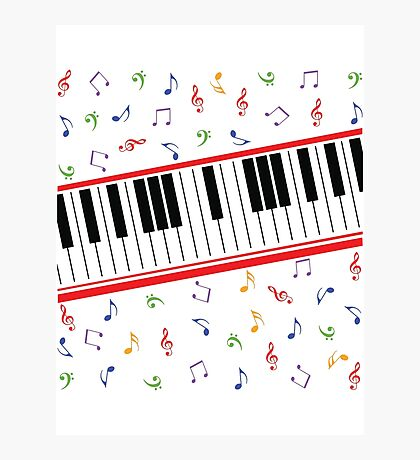 Piano Keys Colored Notes (dark colors only) Photographic Print