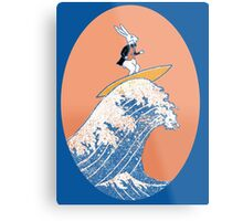 White Rabbit Surfing Metal Print