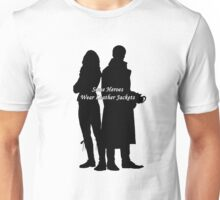 "Captain Swan ""Some Heroes Wear Leather Jackets"" Silhouette Design  Unisex T-Shirt"