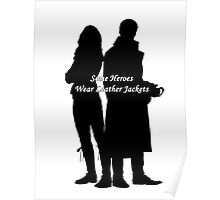 "Captain Swan ""Some Heroes Wear Leather Jackets"" Silhouette Design  Poster"